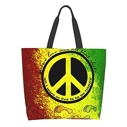 Per donna Borse a tracolla Multifunzionale Tote Satchel Borse Lavoro/Viaggio/Shopping Bag, Giallo (Rasta Footprint - Targa della pace, motivo: bandiera africana, colore: nero), Taglia unica