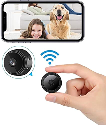 2021 New Version Mini WiFi Hidden Cameras,Spy Camera with Audio and Video Live Feed,with Cell Phone App Wireless Recording -1080P HD Nanny Cams .Tiny Cameras for Indoor Outdoor Using-Black Mini