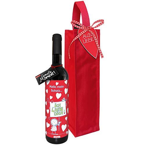 STEINBECK Wein Ich liebe dich Geschenk Valentinstag love trockener Rotwein aus Spanien 100% Tempranillo Valdepenas 2017 mit Flaschentasche Weihnachten Mitbringsel Herz Schatz Hochzeitstag Liebe