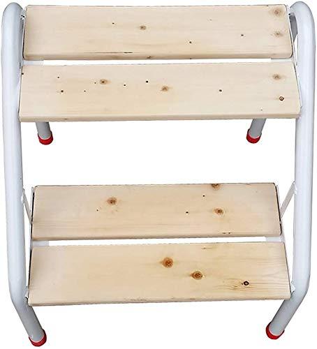Lsmaa Stapmel, ijzer en hout, 2 ladders, trapstoel, bloemenrek, rek, reserveschoenenbank, natuurlijke kleur, 40 x 46,5 x 46,5 cm, badkamerstoel