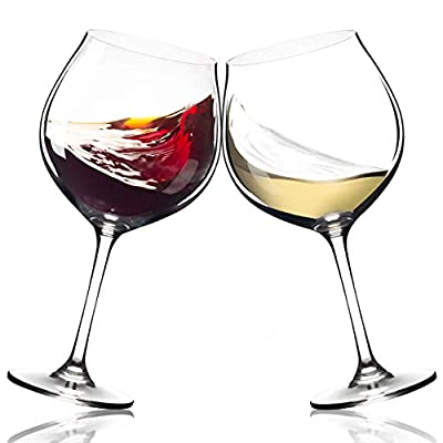Extra Large Red Wine Glasses - Set of 2 Big 23oz Goblets | Long Stem | Lead-free Crystal | Dishwasher Safe | Powerful Valentines Day Gift - Olivia Pope Style | Wide Bowl For Burgundy, Pinot Noir