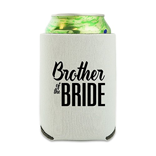 Brother of the Bride Wedding Can Cooler - Drink Sleeve Hugger Collapsible Insulator - Beverage Insulated Holder