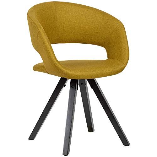Wohnling Esszimmerstuhl Curry Stoff mit schwarzen Beinen Retro Stuhl | Küchenstuhl mit Lehne | Polsterstuhl Maximalbelastbarkeit 110 kg