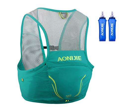 AONIJIER - Mochila de hidratación para correr, 2,5 l, chaleco, arnés, senderismo, camping, escalada, con 2 bolsas de agua de 500 ml (verde, L/XL)