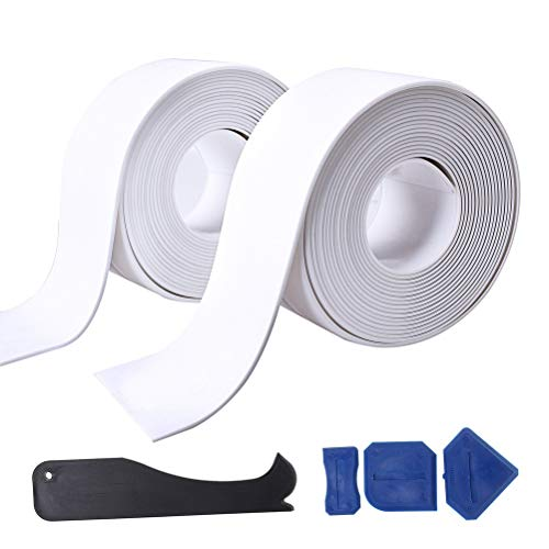 Fashion Road 2 Pack Caulk Strip and 4 Pcs Sealant Tools, PE Bathtub Caulk Strip, Self Adhesive Sealant Caulk Strip (38mm x3.2m x 2 Roll) Kitchen and Toilet (38mm x3.2m x 2 Roll)