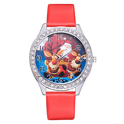 GJHBFUK Reloj Niño Classic Quartz Watch PU Correa De Cuero Decorada con Reloj De Moda para Niños De Moda para Niños Y Regalos De Niñas (Rojo)