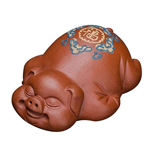 HYBUKDP Zisha/Purple Clay Tea Pet,Chinese Zodiac Pig Statues,Decoration For Home And Office,Kungfu Tea Tray Accessories,Handmade Best Gift,Miniature Statues (Color : A)