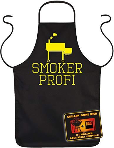 TITAGU Fun-Blechschild und Koch/Grill-Schürze/Geschenk-Set: Smoker Profi & Grillen ohne Bier