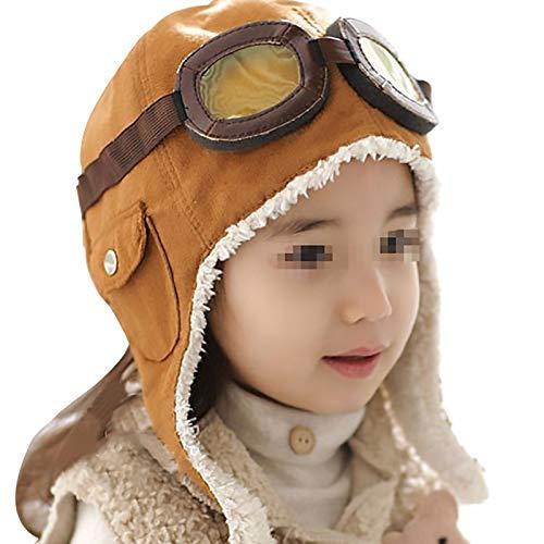 Cestor Niedlich Warme Winter Baby Kinder Jungen Mütze Brille Pilotenmütze Flieger Mütze Fliegermütze mit Ohren,Braun