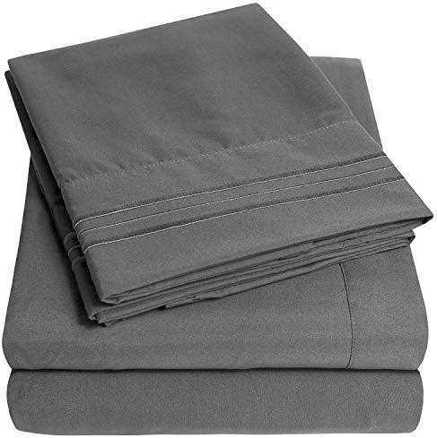 1500 Supreme Collection Bed Sheet Set – Extra Soft, Elastic Corner Straps, Deep Pockets, Wrinkle & Fade Resistant Sheets Set, Luxury Hotel Bedding, King, Gray