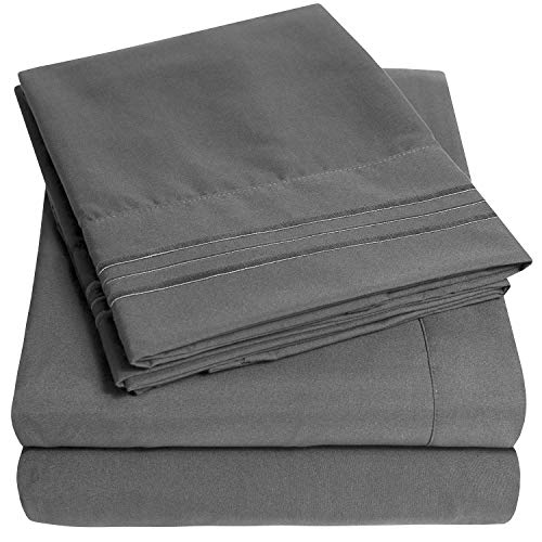 1500 Supreme Collection Bed Sheet Set - Extra Soft, Elastic Corner Straps, Deep Pockets, Wrinkle & Fade Resistant Hypoallergenic Sheets Set, Luxury Hotel Bedding, King, Gray