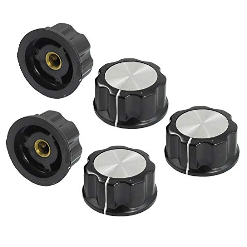 LYOLYIMAO 5 Pcs Black Silver Tone 30 mm Top Rotary Knobs for 6 mm Dia. Shaft Potentiometer