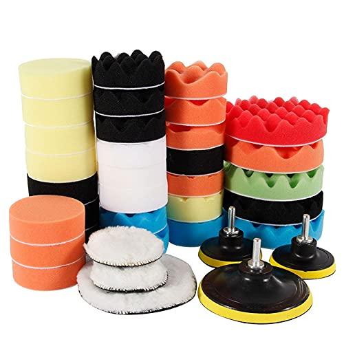 39 Unids/set Kit de Almohadilla de Esponja para Pulir Coche Almohadillas de Espuma Kit de Amortiguador Máquina de Pulido Almohadillas de Cera para Elimina Rasguños