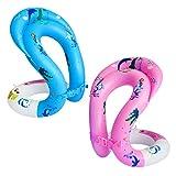 KESYOO 2 Piezas Anillos Flotador Natación para Bebés Anillos Piscina Inflables Cuello Juguetes para Piscinas Suministros Natación Divertidos para Niños Al Aire Libre Talla Rosa Y Azul L