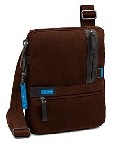 PIQUADRO Nimble Borsello porta iPad®/netbook con doppia tasca frontale chiusa da zip marrone CA1816NI/MA