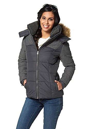 FLASHLIGHTS Damen Steppjacke Jacke warm gefüttert Materialmix Schwarz 38