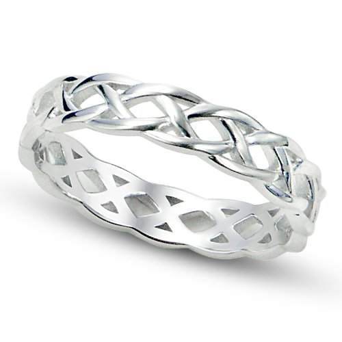 Sz 8 Sterling Silver 925 Celtic Knot Eternity Band Ring