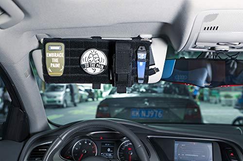 1T OneTigris Pare-Soleil Multifonction Auto Nylon Organiseur Sac de Rangement avec Sangle pour Tickets de crédit, permis de Conduire