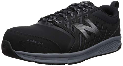 New Balance Men's 412 V1 Alloy Toe Industrial Shoe, Black/Silver, 10 W US