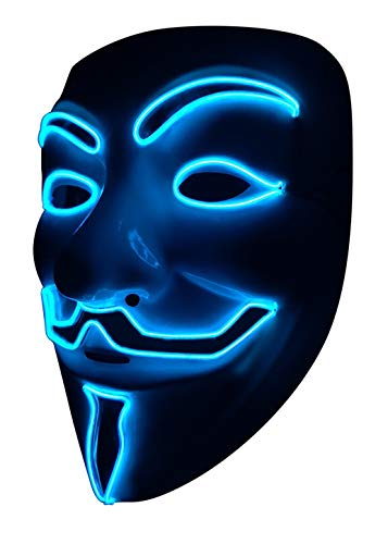 SOUTHSKY LED Mascara Disfraz de Luces Neon Led Brillante V Vendetta Mask EL Wire Light Up 3 Modos For Halloween Costume Cosplay Party (V-Blue)