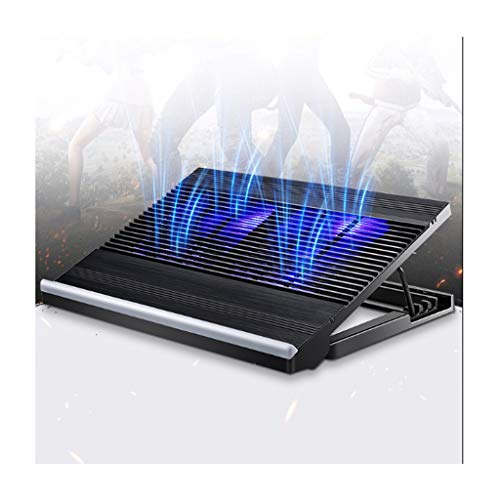 Almohadillas de refrigeración para ordenador portátil, de aleación de aluminio de 12 a 17 pulgadas, almohadilla de enfriamiento para portátil, soporte para enfriador, alfombrilla de refrigeración, 2 puertos USB para portátil (color negro).