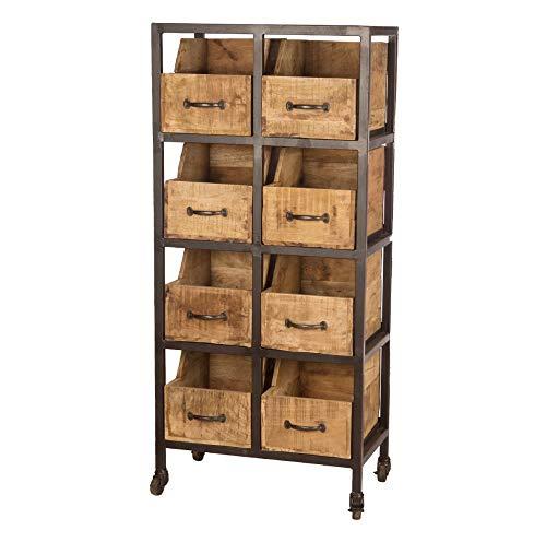 Dijk Natural Collection Vintage rek met 8 houten dozen, 60 x 33 x 130 cm op wieltjes