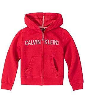 Calvin Klein Little Girls  Logo Zip Front Hoodie Russian Red 5