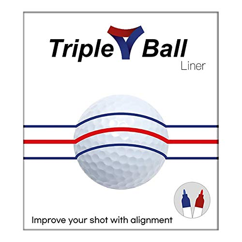 Triple Golf Ball Liner Alignment Tool, Golf Ball Marker Tool for a Better Alignment. 2 Golf Pencils Included - Triple Golf Ball Liner Compatible with Golf putters