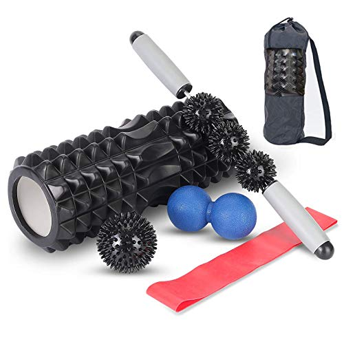 6 in1 Foam Roller Set Includes Massage Roller Muscle Roller Stick Stretching Strap Double Lacrosse Peanut Spikey Plantar Fasciitis Ball with Storagebag Massage Kit for Myofascial Home Massager