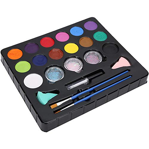 14 couleurs Glitter Pigment Body Painting Pigment Art avec brosse éponge pour Performance Painting Party, Fancy Dress Party Make Up Tool