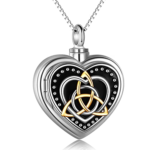 Celtic Knot Necklace sterling silver Religious Celtics Cremation Urn for Human Ashes Photo Picture Locket Memory Pendant necklace Jewelry