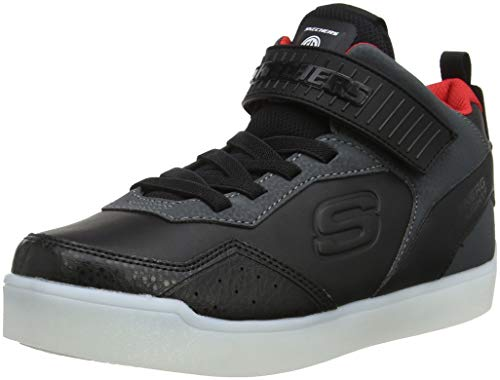 Skechers Boy's Energy Lights Hi-Top Trainers, Black (Black/Red Bkrd), 3 (36 EU)