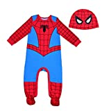 Marvel Spiderman Bodysuit and Hat, Footed Jumpsuit, Baby Clothes Sleepwear Set, Red and Blue, Size 12M