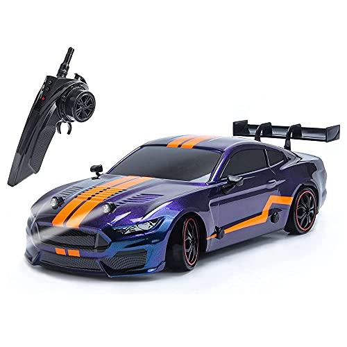 Nsddm Coche RC Modelo Mustang 1/16 Coche teledirigido eléctrico de 2.4Ghz Camión RC Velocidad 30km/h Coche Carreras dirft 4×4 Super GT con Kit de Luces LED con 2 neumáticos de batería y dirft RTR