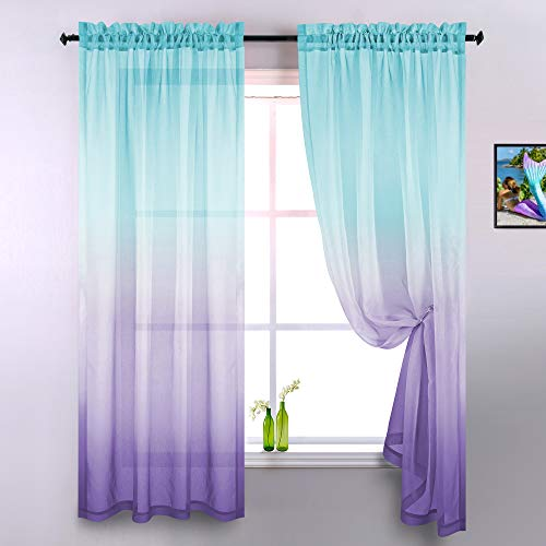 Lilac and Turquoise Curtains for Bedroom Girls Room Decor Set of 2 Panels Ombre Patterned Window Semi Sheer Curtains for Living Room Kids Nursery Mermaid Themed Green and Purple 52 x 84 Inch Length