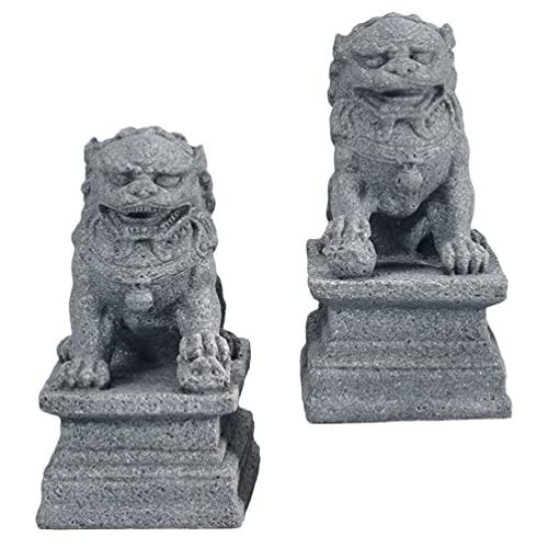Happyyami 2Pcs Foo Cani Decor Statue di di Pietra Decorazione di Stile Cinese Feng Shui Ornamenti di Buon Auspicio per Il Giardino Reggilibri Desktop