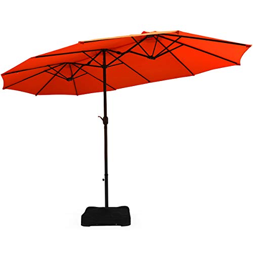 Tangkula 15 Ft Patio Double Sided Umbrella with Base, Outdoor Extra Large Market Umbrella with Crank Handle, Outdoor Twin Table Umbrella Base Included, Umbrella with Crank and Base (Orange)