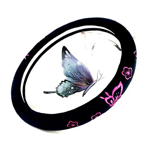 FJQ Butterfly Plush Car Steering Wheel Cover, Wear-Resistant-Breathable Stitches, Ladies Car Steering Wheel Cover Universal 15 Inches (Pink)