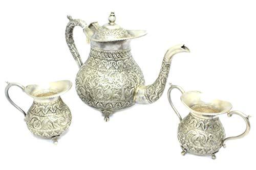 Rajasthan gems - Set da tè realizzato a mano, in lega d'argento anticata, teiera per latte, zuccheriera