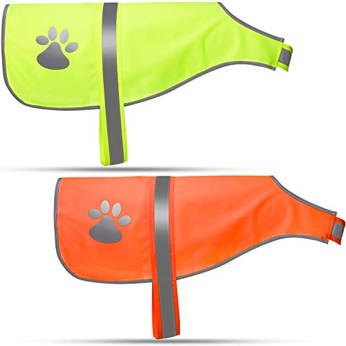 Geyoga 2 Pieces Dog Reflective Vest Adjustable Dog Safety Vest Pet Dog High Visibility Apparel for Outdoor Activities Walking Hunting (L, Orange, Fluorescent Yellow)