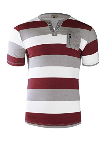 Herren Sommer Polo Hemd T-SCHIRT POLOSCHIRT GESTREIFT Kurzarm 100% Baumwolle, Größe:XL, Farbe:Bordeaux