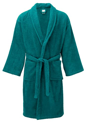 Lujo 100% algodón egipcio unisex Terry toalla ropa de dormir suave chal cuello albornoz bata, turquesa, L