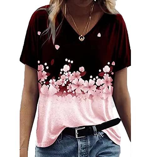 SLYZ 2021 Camiseta De Manga Corta De Verano para Mujer Camiseta Informal Estampada De Moda para Mujer