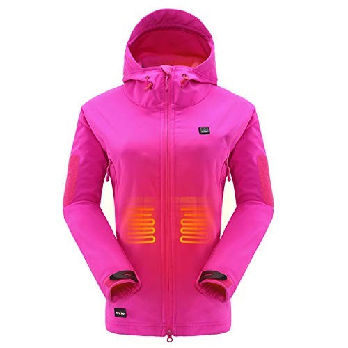 DEWBU Heated Jacket with 7.4V Battery Pack Winter Outdoor Soft Shell Electric Heating Coat for Women,Rose Red,L