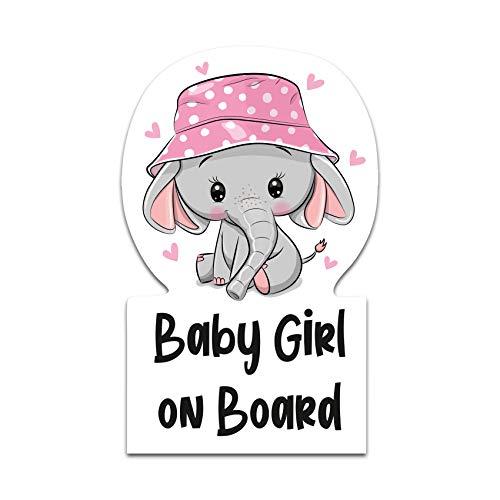 Baby on Board Sticker 6,4 x 10,2 cm Boy Girl Elefant Autoaufkleber Aufkleber für Auto Heckscheibe Kfz Zubehör Wetterfest Selbstklebend R122 (Mädchen)