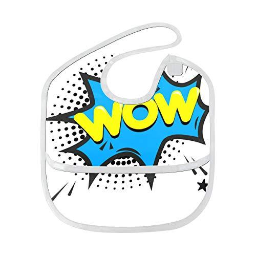 Wow Seufzerlabel Pop Art Benutzerdefinierte weiche wasserdichte Flecken und geruchsresistente Babyfütterung Dribble Drool Lätzchen Spucktücher für Säuglingsoverall für 6-24 Monate Kindergeschenke