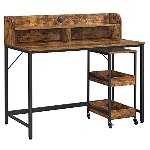 VASAGLE Computertisch, Schreibtisch mit Monitorständer, Loch für Kabel, Büro-Set, 3-stöckiger Rollwagen, Stahlrahmen, Industriestil, vintagebraun-schwarz LWD066B01