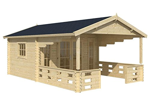 Blockhaus EMMEN 380 x 320cm + 270cm Veranda Gartenhaus 45mm Holzhaus