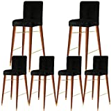 KELUINA Velvet Bar Stool Chair Covers with Backrest,Elastic Seat Home Soft Chair Slipcover Chair Protector for Kitchen Breakfast Counter Chairs Bar Stools (Black,Set of 6)