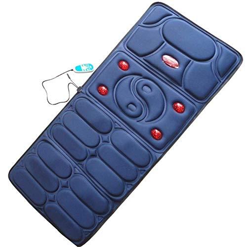 HZLX Coussin de Massage Coussinet 10 Groupe vibrateur 5 Groupe Lampe Infrarouge Cou épaule Taille Retour Chauffage Vibration Corps Tapis de Massage synchronisation contrôle de Ligne,Blue